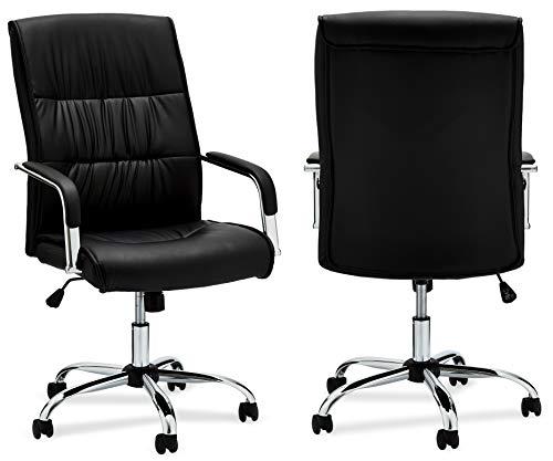 Ibbe Design Ergonomisch Schwarz Kunstleder Bürostuhl Schreibtischstuhl Rex mit Armlehne, Höhenverstellbar, Drehstuhl, Belastbar 150kg,L61xB70xH110cm