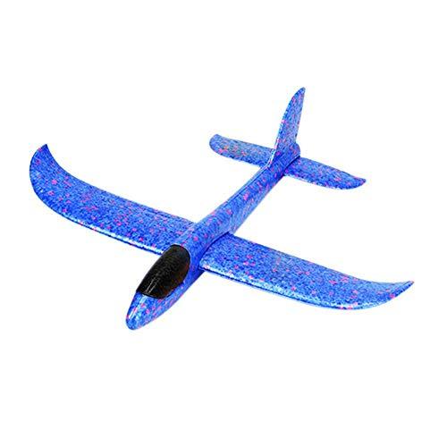 4 stuks zeilvliegtuig met lampjes, handmatig gooien, piepschuim vliegtuig kinderen vliegtuig speelgoed outdoor werp zeilvliegtuig gooien vliegen model voor kinderen kinderverjaardag, 37 cm blauw