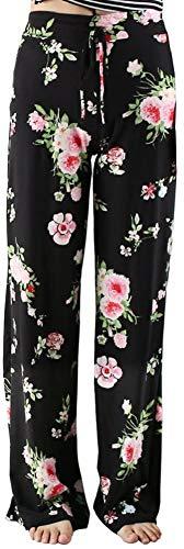 HLTPRO Pyjama Schlafanzughose Damen Lang - Pyjamahose Freizeithose Soft Nachtwäsche Weite Bein Lange Hose, Blumen B - Schwarz - ohne Tache, XL