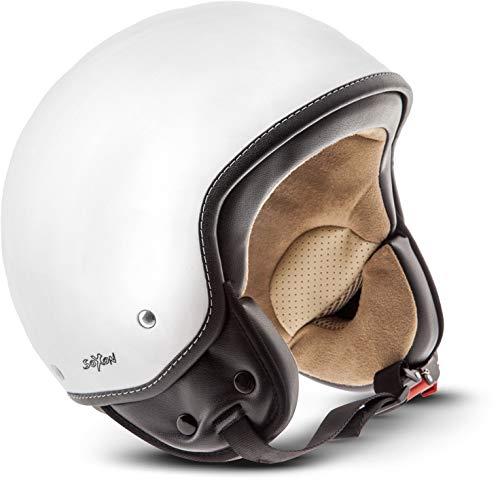 "SOXON® SP-301 ""Snow"" · Jet-Helm · Motorrad-Helm Roller-Helm Scooter-Helm Moped Mofa-Helm Chopper Retro Vespa Vintage Pilot Biker Helmet Brille Visier · ECE 22.05 Schnellverschluss Tasche L (59-60cm)"