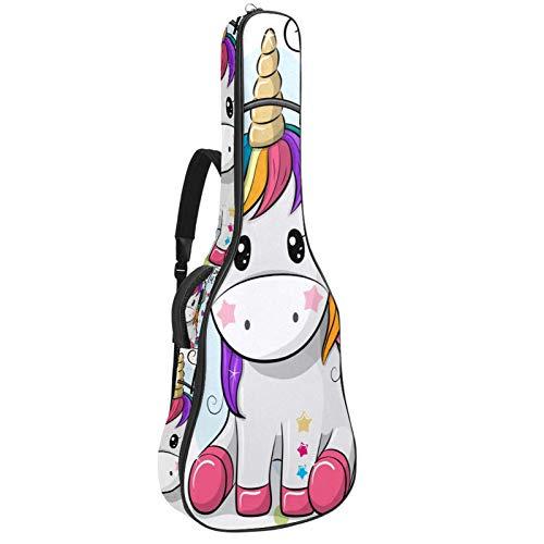 Funda de Guitarra Española Auriculares Unicornio Dibujos animados Bolsa Acolchada Para Guitarra Acústica con Asa de Transporte y Correa Para el Hombro 109x43x12cm