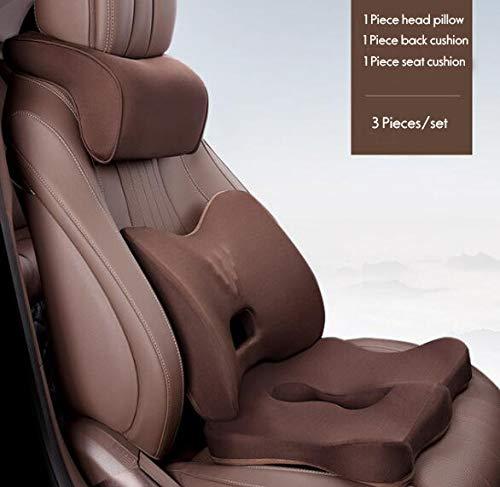 Hehaoyuan zitkussen van geheugenschuim, orthopedisch schuim, helpt met het ijasschuim voor de bureaustoel, set van 3, bruin