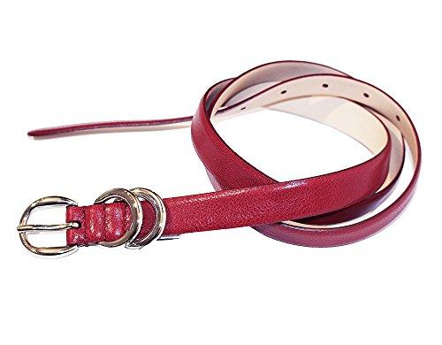 Dolce & Gabbana D&G DC0741E14F - Cinturón de mujer con barra recta con hebilla de anillas, color rojo, talla 105 cm