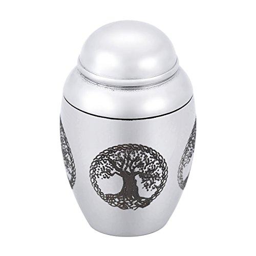 HooAMI Mini Urne Cremation Schmuck Wasserdichte Baum des Lebens Anhaenger aus Edelstahl 25mmx16mm