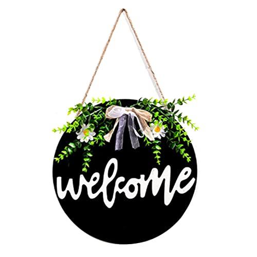KUYG Panneau de bienvenue pour décoration de porte d'entrée, couronne ronde en bois à suspendre, ornement de vacances pour Halloween, Noël