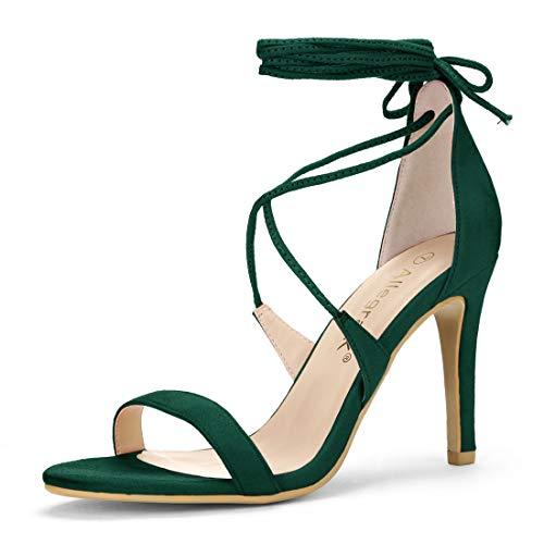 Allegra K Women's Stiletto Heel Lace-up Green Sandals 5 M US