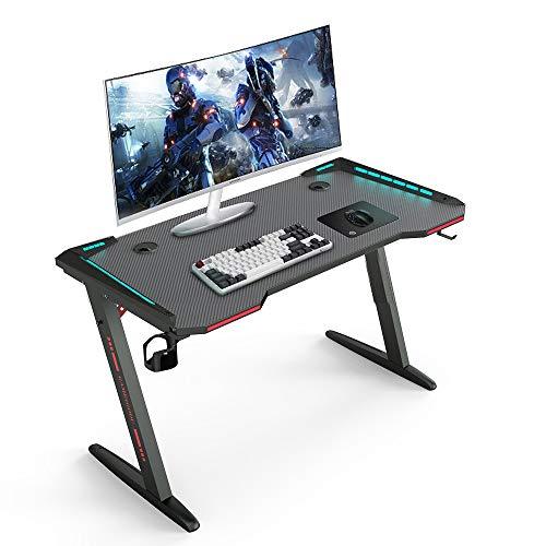 Escritorio para videojuegos, E-Sports - Mesa de trabajo profesional con luces RGB, soporte para tazas, gancho para auriculares, gestión de cables, escritorio negro para oficina en casa, oficina 47''