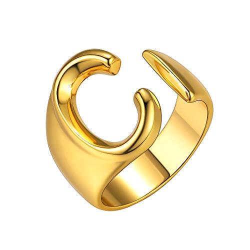 GoldChic Unisex Anillo de Letras Personalizadas Anillo con Inicial C Oro Argolla Abierto para Novia Novio