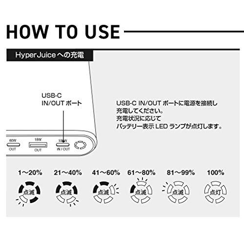 HyperJuice27000mAhUSB-CモバイルバッテリーSpaceGray最大出力130W大容量MacBookPro15インチ大型ノートPC充電可能PD3.0QC3.0USB-CポートHYPER++【日本正規代理店品】HP15621