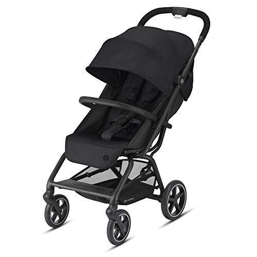 CYBEX Eezy S + 2 Stroller, Lightweight Travel Stroller, Compatible with All CYBEX Infant Car Seats, Compact Fold, Stands for Storage, All-Terrain Wheels, Baby Stroller for 6 Months+, Deep Black