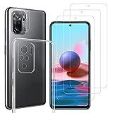 ANEWSIR 6 unidades [3 x cristal templado y 2 x cristal blindado para cámara] compatibles con Xiaomi Redmi Note 10/10s y 1 x funda transparente 【HD Combo】