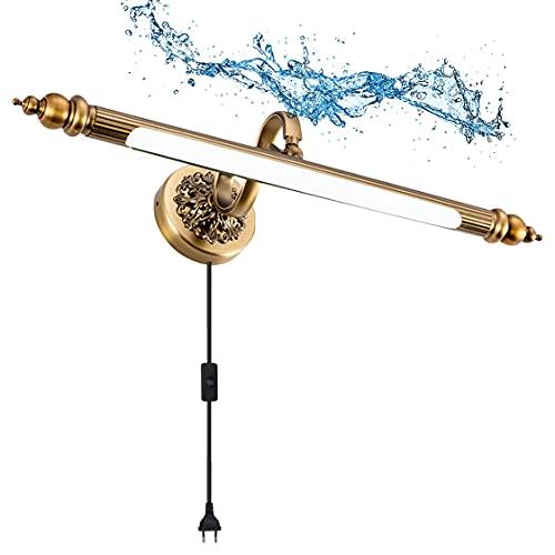 HMAKGG 8W LED Lampara de Espejo Baño Vintage con Enchufe, Regulable Aplique Espejo LED con Cabeza de Lámpara 180° Giratoria, Armario Apliques de Pared Interior Metal para Dormitorio, 51cm