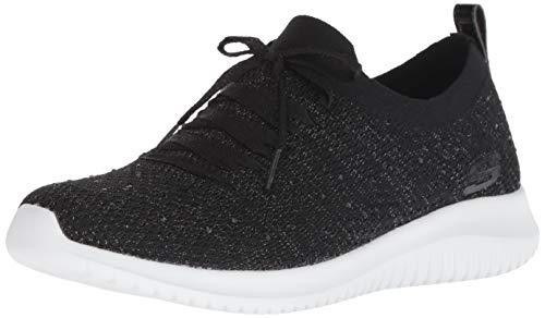 Skechers Ultra Flex-Strolling out, Zapatillas Mujer, Negro (BLK Black Knit Mesh/Gold & White Trim), 38.5 EU