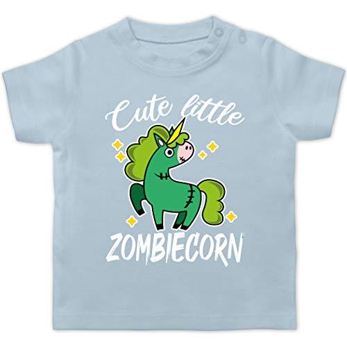 Halloween Baby - Cute Little Zombiecorn - weiß - 3/6 Monate - Babyblau - Einhorn - BZ02 - Baby T-Shirt Kurzarm