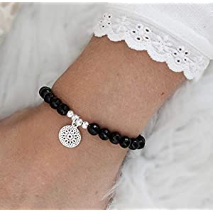 Armband schwarzer Turmalin, Schörl-Armband mit Mandala, 725er Silber, perfektes Geschenk für Frauen