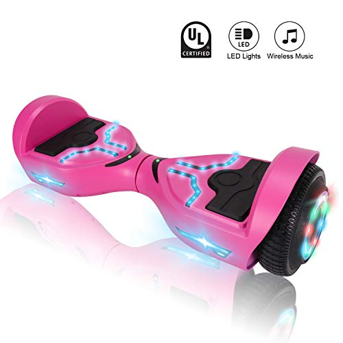 CXMScooter Hoverboard 6.5 inch Self Balancing Scooter with Bluetooth Speaker LED Lights Electric Scooters UL 2272 Certified + Carrying Bag Handbag Included