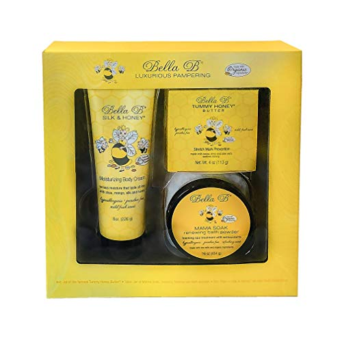Bella B Naturals 3-Piece Gift Set - Pregnancy Gifts For First Time Moms - Pregnant Mom Gifts - Mom To Be Gifts - Pregnancy Gift Basket - Sitz Bath Soak - Honey Tummy Butter - Silk And Honey Cream