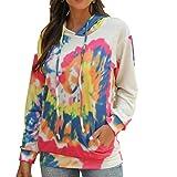 Katenyl Abrigo de suéter con capucha y estampado tie-dye para mujer con bolsillos Ropa de calle Entrenamiento informal Correr Chaqueta cómoda S