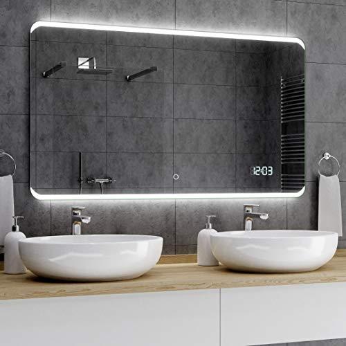 Alasta® Premium Badkamerspiegel met Verlichting - 50x140 cm - Model Módena - Spiegel met Aanraaklichtschakelaar en LED Klok