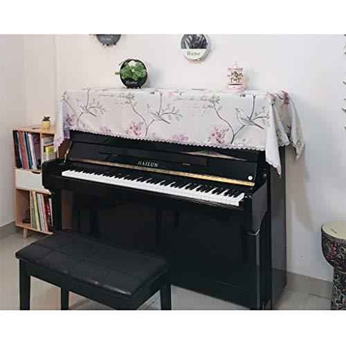 Garden hall Nordic Fabric Toalla de Piano Moderno Minimalista Encaje Media Cubierta Estilo Europeo Cubierta de Polvo Tela Cubierta de Piano Cloth200 * 85 cm (Color : Pale Pink, Size : 1*Top Cover)
