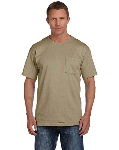 Fruit of the Loom Mens 5 oz. Heavy Cotton HD Pocket T-Shirt (3931P) -Khaki -M