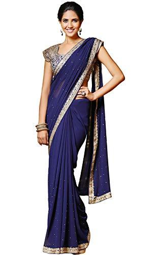 Meena Bazaar Women's Kosa silk Georgette Saree (Navy Blue)