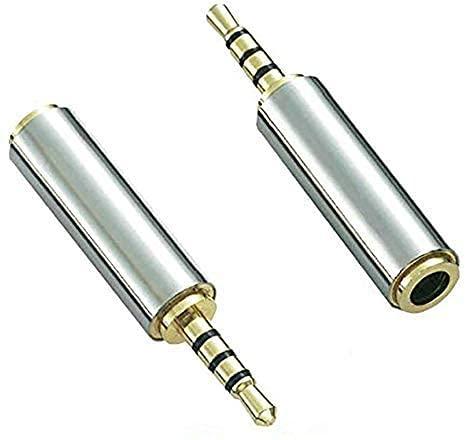 Adaptador Adhiper de 2,5 mm a 3,5 mm Jack 2,5 -3,5 Conector estéreo Apto para Auriculares Adaptador estéreo de 4 Pines para Cable Adaptador de Conector de Audio estéreo