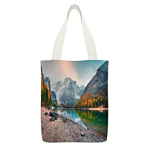 Sac fourre-tout en toile Braies Lake coloré d'automne dans les Alpes italiennes - Couleur : blanc - 28 - Réutilisable - Respectueux de l'environnement - Super résistant