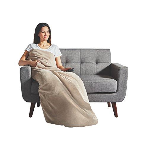 Sunbeam Heated Throw Blanket | Dual Pocket Microplush, 3 Heat Settings, Oatmeal - 31160302