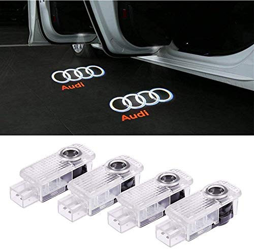 Car LED Door Logo Ghost Shadow Projector Laser Welcome Lights Symbol Emblem Courtesy Step Lights Ground Lamp Kit for Audi A4 A3 A6 Q7 Q5 A1 A5 TT A8 Q3 A7 R8 RS Series (4 Pack)