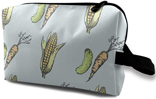 Mais und Karotten drucken Kosmetiktasche tragbare Handtasche Make-up Pinsel Halter kosmetische Aufbewahrungsbox Veranstalter für Geldbörse oder Reise für