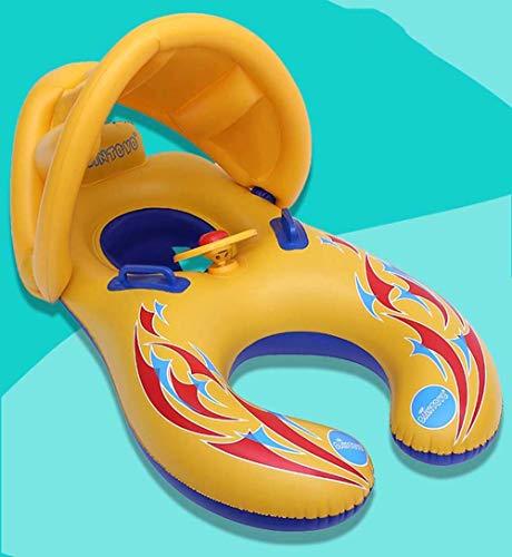 Gcxzb Schwimmreifen Luftbetten doppelt Eltern-Kind-Schwimmen-Ring umweltfreundlich PVC Abnehmbarer Sonnenschutzmutter und Kinderkreis 110 * 65