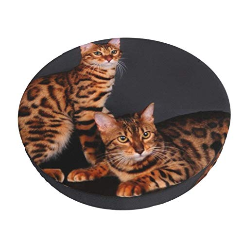 Round Bar Stools Cover,Bengal Cat Couple Leopard,Stretch Chair Seat Bar Stool Cover Seat Cushion Slipcovers Chair Cushion Cover Round Lift Chair Stool