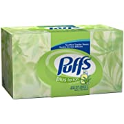 Puffs Facial Tissue Plus Lotion, White, 2-Ply Tissues, 156-Count Box (Pack of 12)