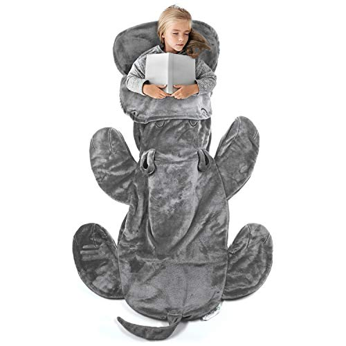 Cozy Hippo Animal Tail Blanket for Kids Soft and Comfortable Kids Sleeping Bag Sleep Sacks Blankets for Movie Night, Sleepovers, Camping and More - Fits Boys and Girls Ages 3 - 13 Years