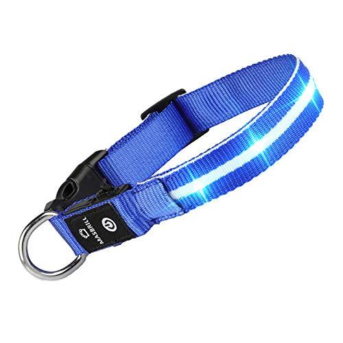 MASBRILL Leuchthalsband für Hunde Aufladbar LED Hundehalsband 100% Wasserdicht Blinkende Lichter mit...