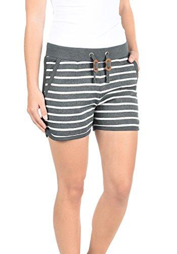 BlendShe Kira Damen Sweatshorts Bermuda Shorts Kurze Hose Mit Fleece-Innenseite Und Streifen-Muster Regular Fit, Größe:M, Farbe:Pewter Mix (70817)