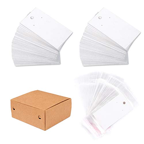 Whaline 200 Set Earring Display Card with 200 Pcs Self-Seal Bags, Earring Card Holder Blank Kraft Paper Tags for DIY Ear Studs, Earrings and Jewelry Display (White)