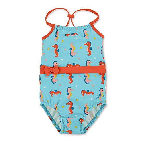 Sterntaler Kinder Mädchen Badeanzug mit Windeleinsatz, UV-Schutz 50+, Alter: 9-12 Monate, Größe: 80, Meeresblau