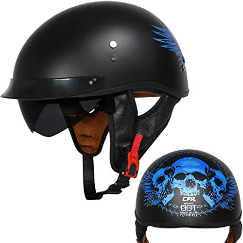 ZHXH Harley Motorrad Halbhelm Adult Fiberglas Motorrad Helm Cruiser Sonnenblende Schnellverschluss, Eingebaute versenkbare Linse Roller Fahrradhelm Dot Approved Personality Motorradhelm