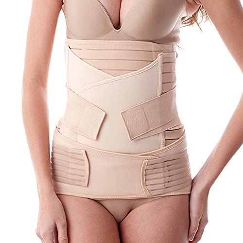 Postpartum Belly Band, 3 in 1 Post Pregnancy Support Recovery Belly Waist Pelvis Belts, Postpartum Compression Girdles Bodyshaper (Beige, One Size-Fit us 4-12)