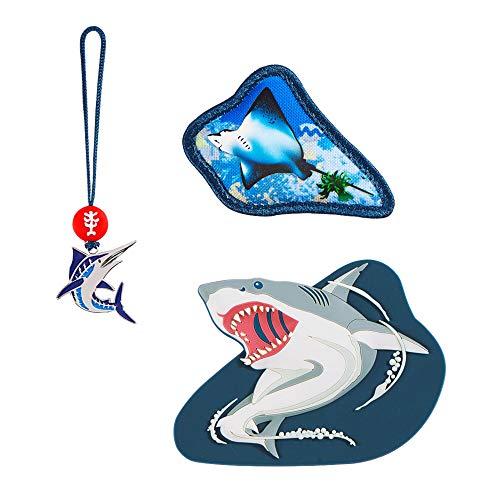 """Step by Step Magic Mags """"Angry Shark"""", 3-teilig, 2 Magnet-Applikationen und 1 Anhänger, als Ergänzung für den Schulranzen oder Vorschulrucksack, für Jungen und Mädchen"""