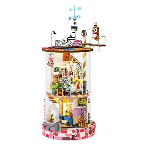 ROBOTIME 3D Miniaturimitat Glashaus DIY Puppenhaus - Fantasy Streamer Secret Realm Mini Zimmer Bastelsets mit Möbeln und Zubehör Lernspielzeug für Mädchen (Traumweber Blume)