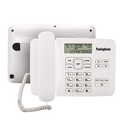 Teléfono con cable, teléfono con cable con identificador de llamadas / FSK / DTMF, sistema dual, calendario, pantalla LCD, teléfono con cable, para soporte de oficina en casa, flash, rellamada, retenc