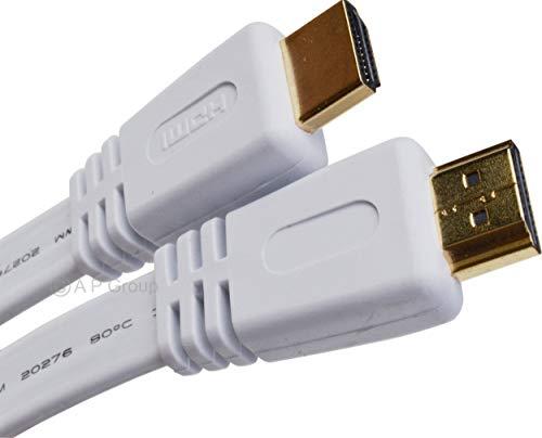 Rhinocables HDMI 2.0 Kabel Flach Weiß Flachband kompatibel mit HDMI 2.0a/b, 2.0, 1.4a | Unterstützt Ultra HD, 4K, 3D, Full HD, 1080p, HDR, ARC, Highspeed mit Ethernet (1m)