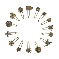 PACKAGE INCLUDE -- 15pcs retro mixed shapes and sizes vintage alloy safety brooch pins, that allow you to choose the one you want depending on the event you will attend. DIY Homemade design accessories, stylish, beautiful, adorable and sturdy, elegan...