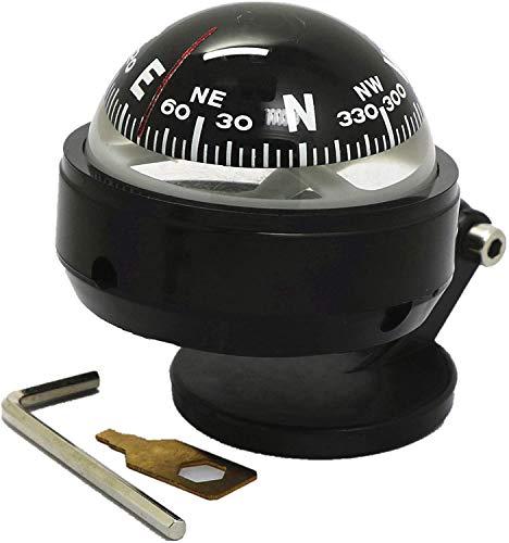 IQQI Kompass Für Auto-Armaturenbrett, Bewegliche Kompass Compact Kugel Armaturenbrett-Standplatz Kompass Mit Saugnapf Und Anpassungswerkzeug