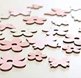 RiloStore 44 STK Holzblumen + 44 STK Holz Schmetterlinge Streudeko Weiss rosa Holzblüten Tischdekoration Holz Blüten Blumen Tischschmuck Geburtstag Taufe Festdeko Hochzeit