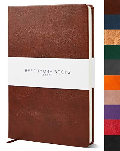 Liniertes Notizbuch - Premium A5 Journal von Beechmore Books | Festeinband aus veganem Leder, Dicke: 120 g/qm cremefarbenes Papier, Notizbuch in der Geschenkbox, 21 x 15 cm Kastanienbraun