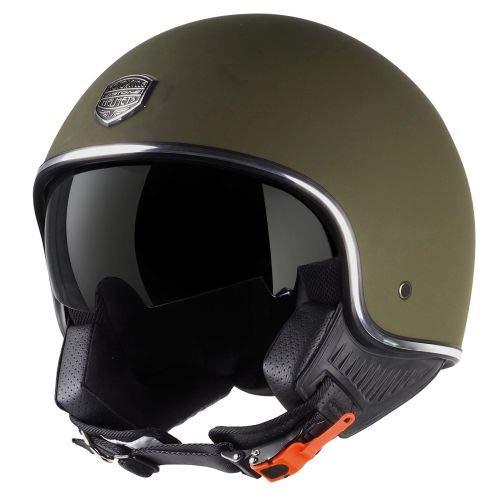Astone Helmets - Minijet 66 - Casque jet vintage - Casque style rétro US - Casque de moto en polycarbonate - matt army XL